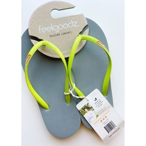 Feelgoodz • Jade and Lime Rubber Flip Flops NWT